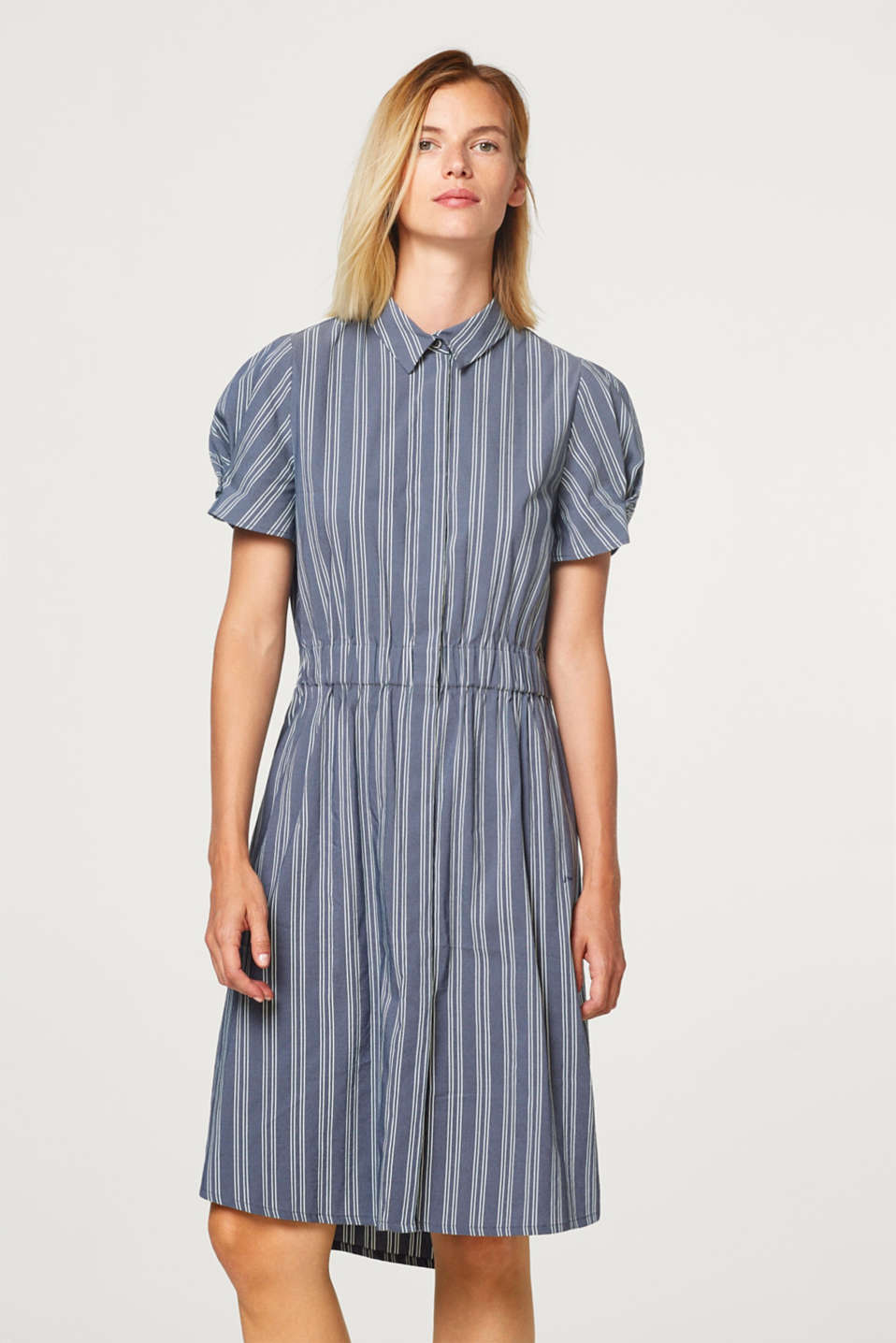 Striped shirt dress made of blended cotton