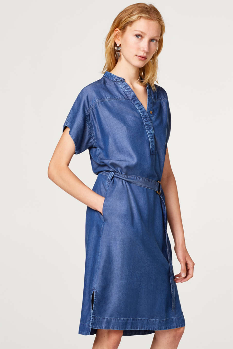 Esprit - Robe tunique en lyocell d'aspect denim