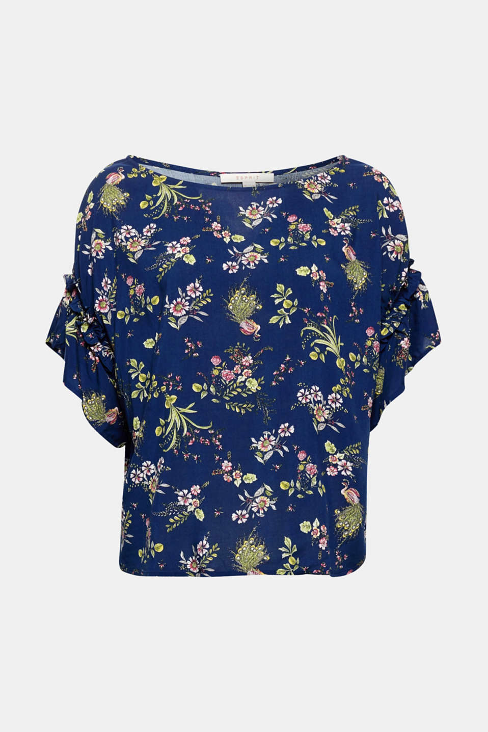 For your romantic trend look: flowing blouse top in a boxy, cropped cut with an attractive floral print and pretty wing sleeves.