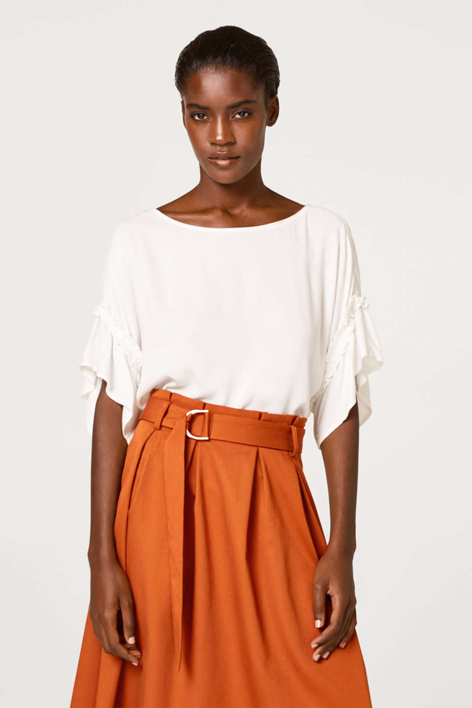 Esprit - Textured blouse with frilled details