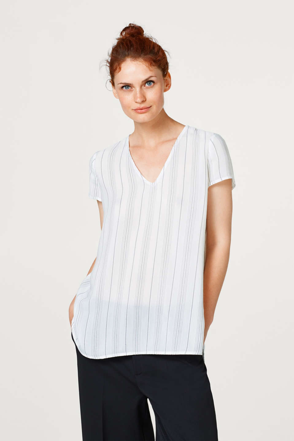 Esprit - Long blouse top with woven stripes