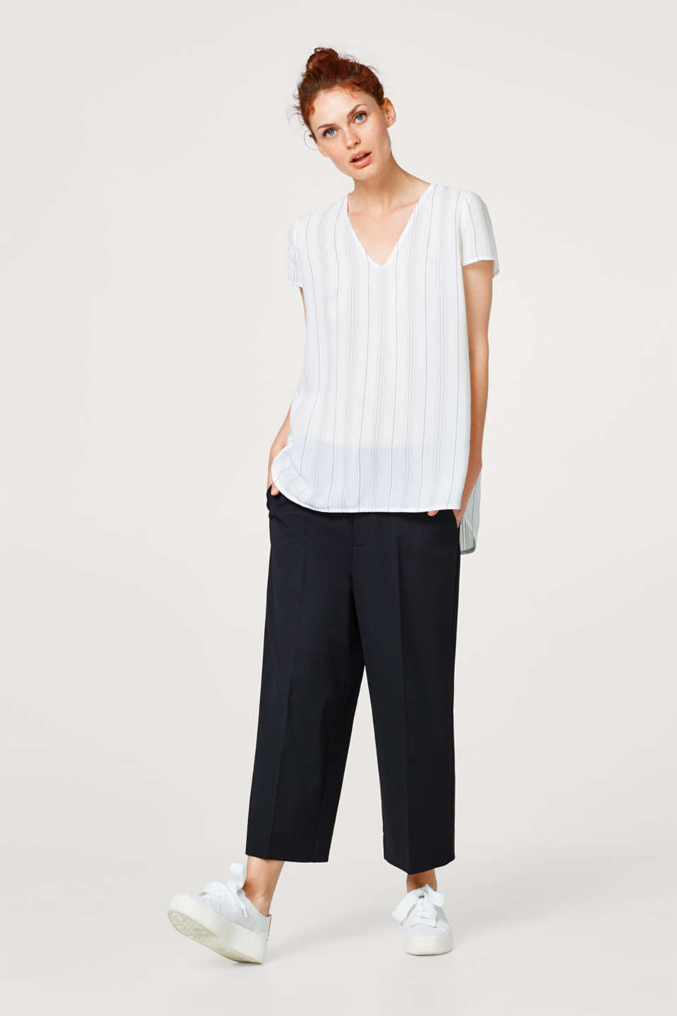 Long blouse top with woven stripes