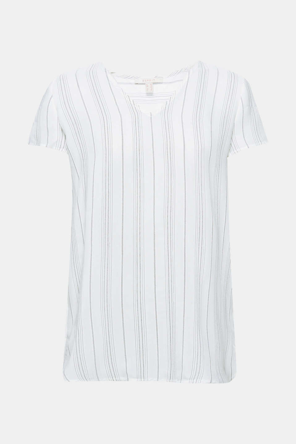 This sheer blouse top is casual like a shirt and delicate like a blouse with its fine striped pattern, v-neckline and high-low hem.