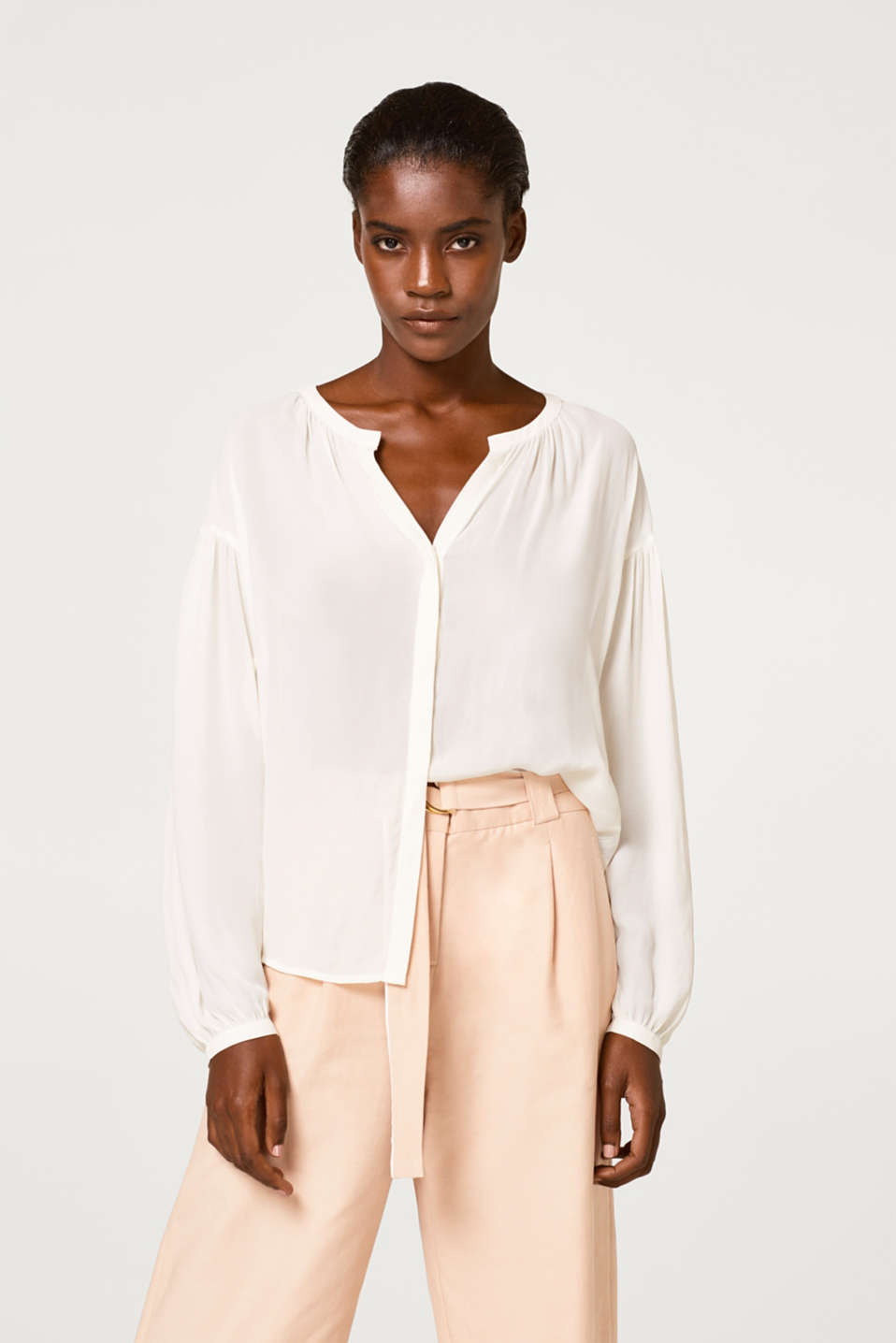 Esprit - Semi-sheer blouse with balloon sleeves