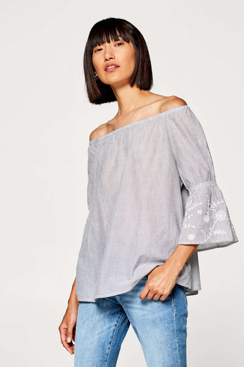 Esprit - Embroidered cotton blouse with stripes