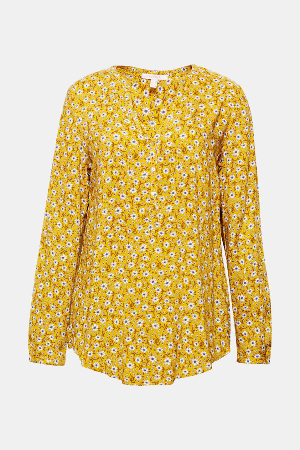 With a beautiful print, an airy neckline and adjustable turn-up sleeves, this flowing blouse is perfect for everyday wear!