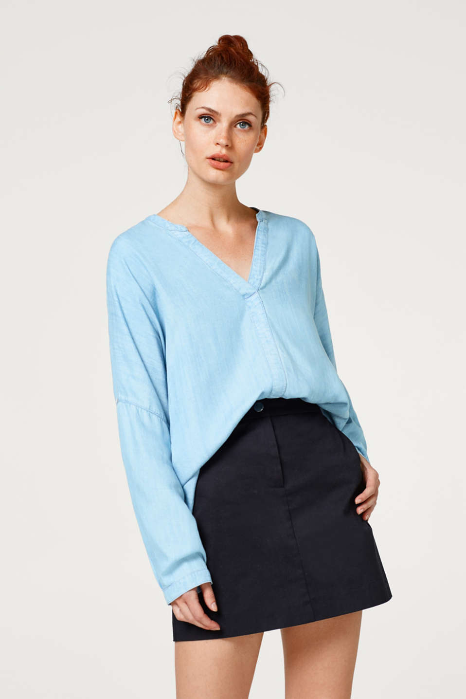 Esprit - Oversized, denim-look Henley blouse