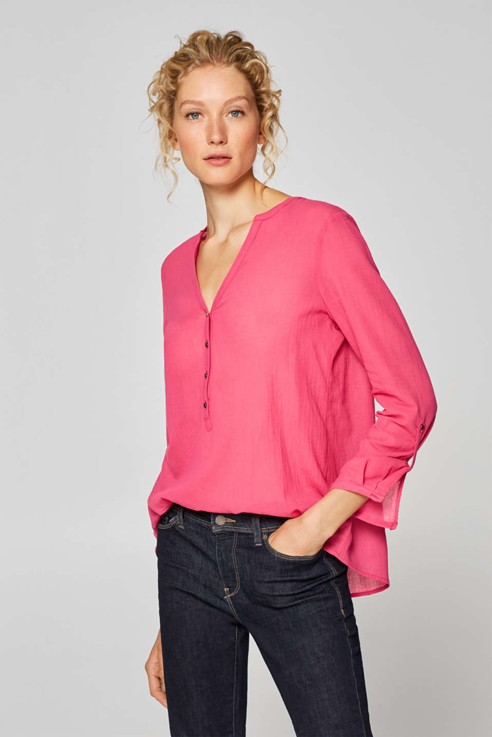 Esprit - Henley blouse with turn-up sleeves