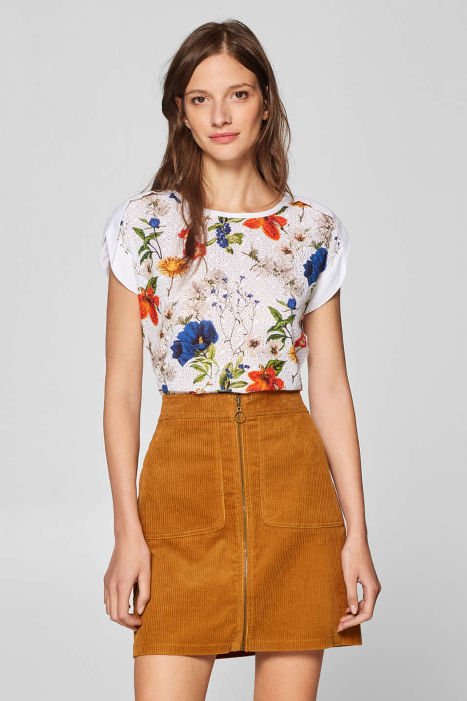 Esprit - Print blouse top with broderie anglaise