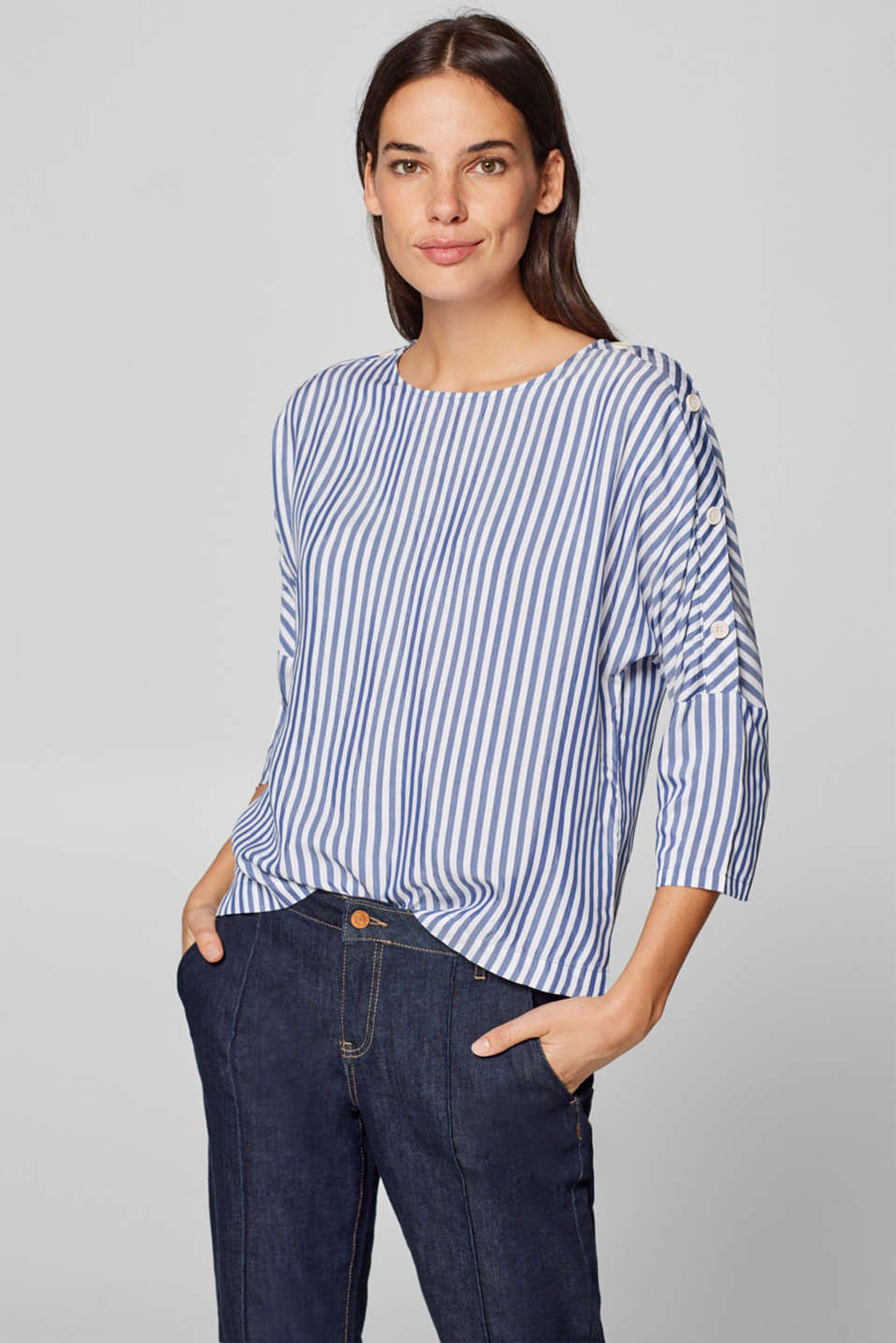 Esprit - Striped blouse with buttons on the sleeves