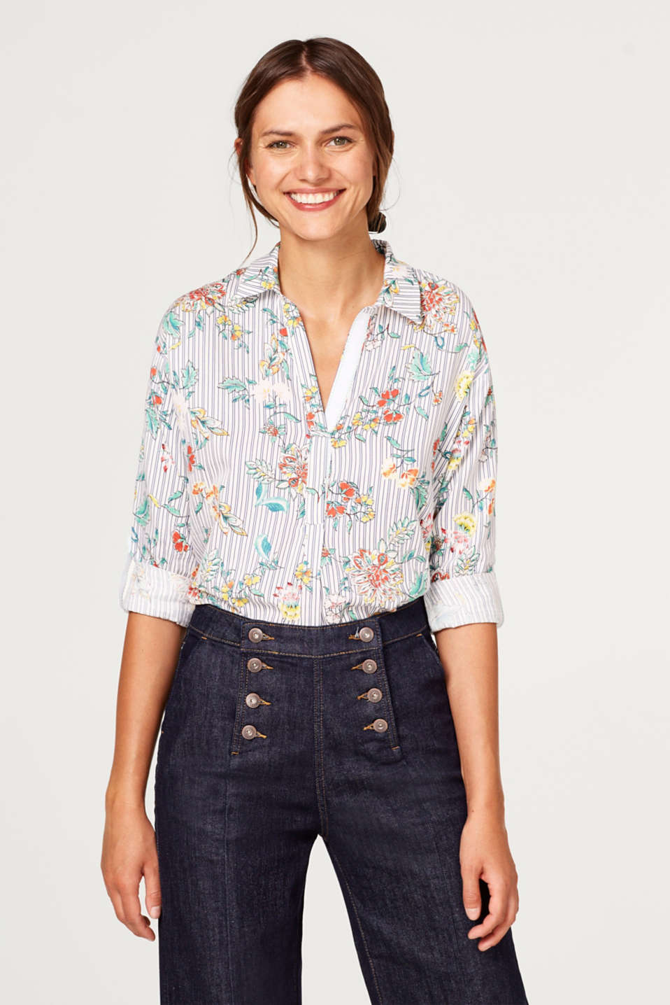 Esprit - Shirt blouse with an all-over print, 100% cotton