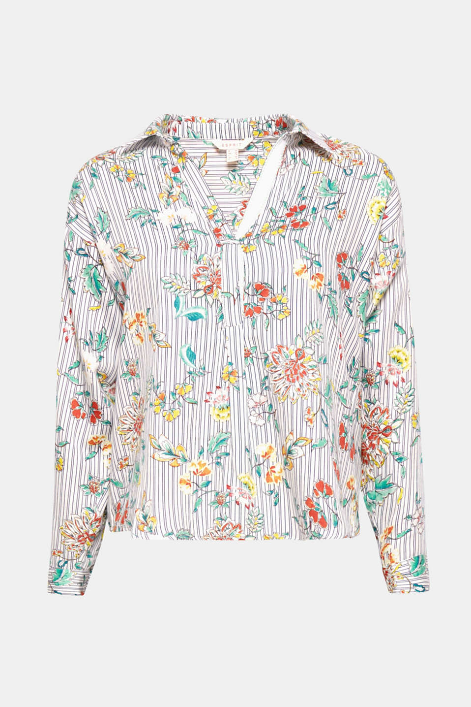 With its sophisticated neckline and adjustable, turn-up sleeves, this dreamy, printed shirt blouse in 100% cotton is a true styling wonder.