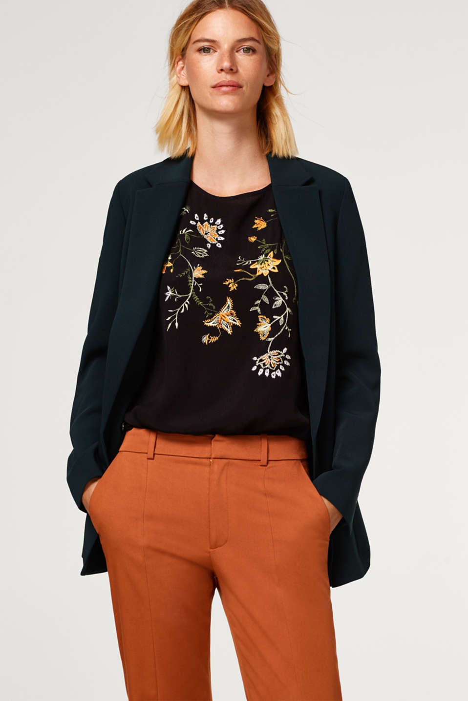 Blouse top with floral embroidery