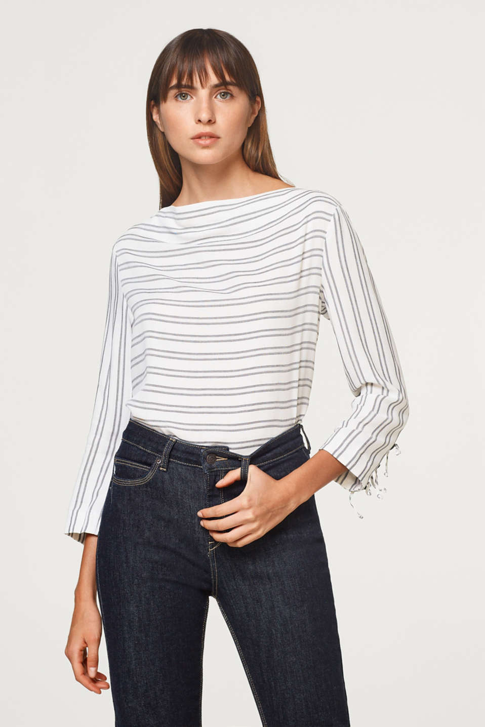Esprit - Striped blouse with decorative buttons