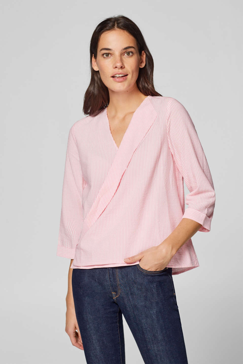 Esprit - Seersucker blouse with wrap neckline