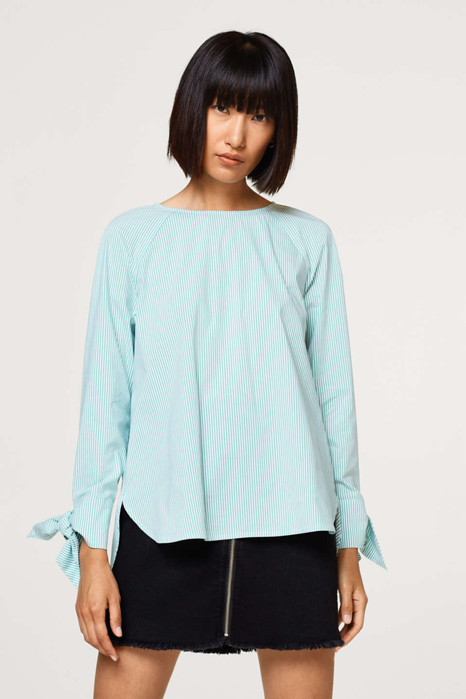 Esprit - Stretch blouse with sleeve ties