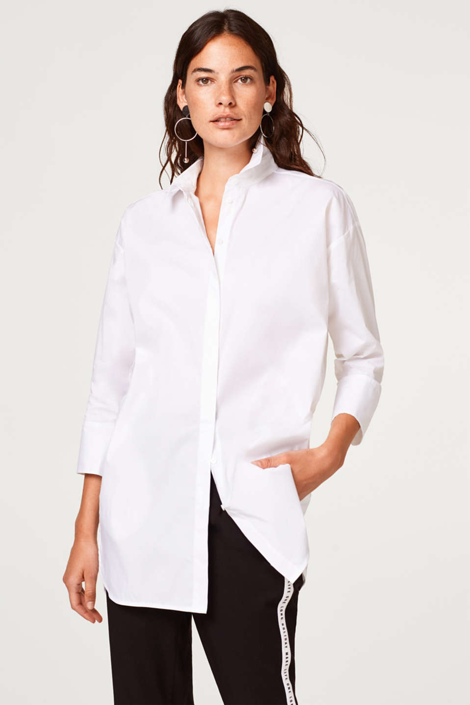 Esprit - Chemisier long en coton stretch