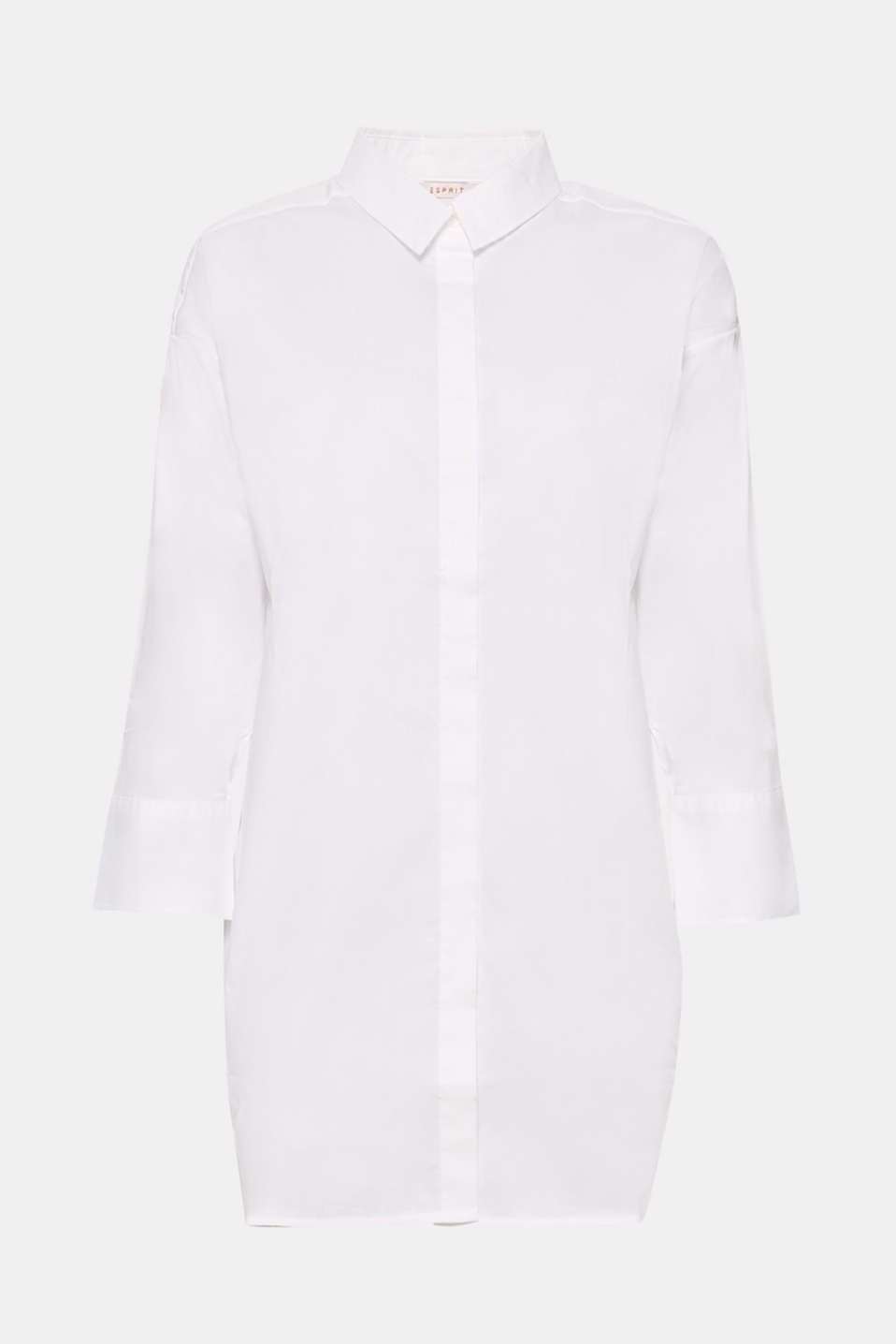 The stunning high-low hem and vented cuffs give this ultra-long shirt blouse its new look!