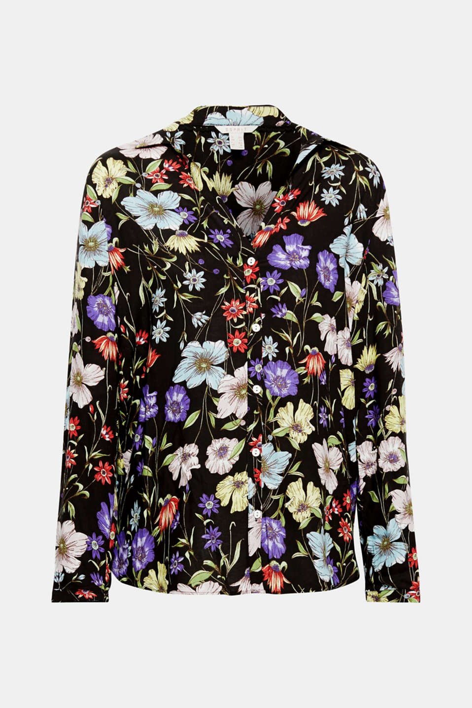 A gorgeous, colourful floral print on flowing material turns this casual shirt blouse with turn-up sleeves into a highlight!