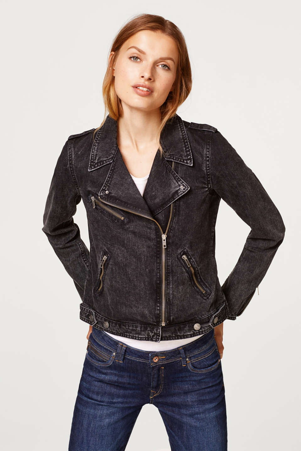Esprit - Fitted biker style denim jacket