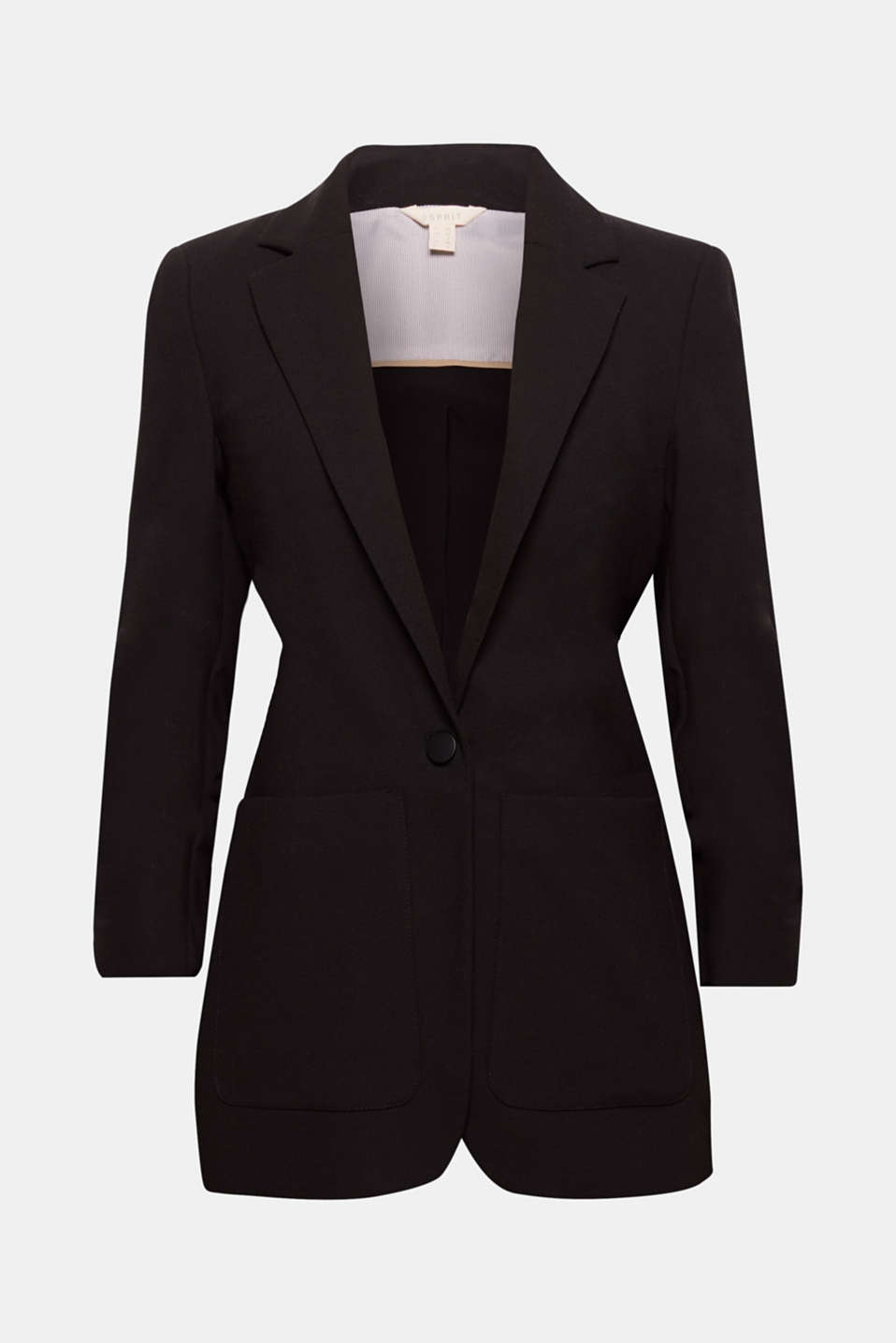 If you need to dress to impress, this is your cool piece: fitted one-button blazer in crêpe fabric with gathered sleeves and patch pockets!