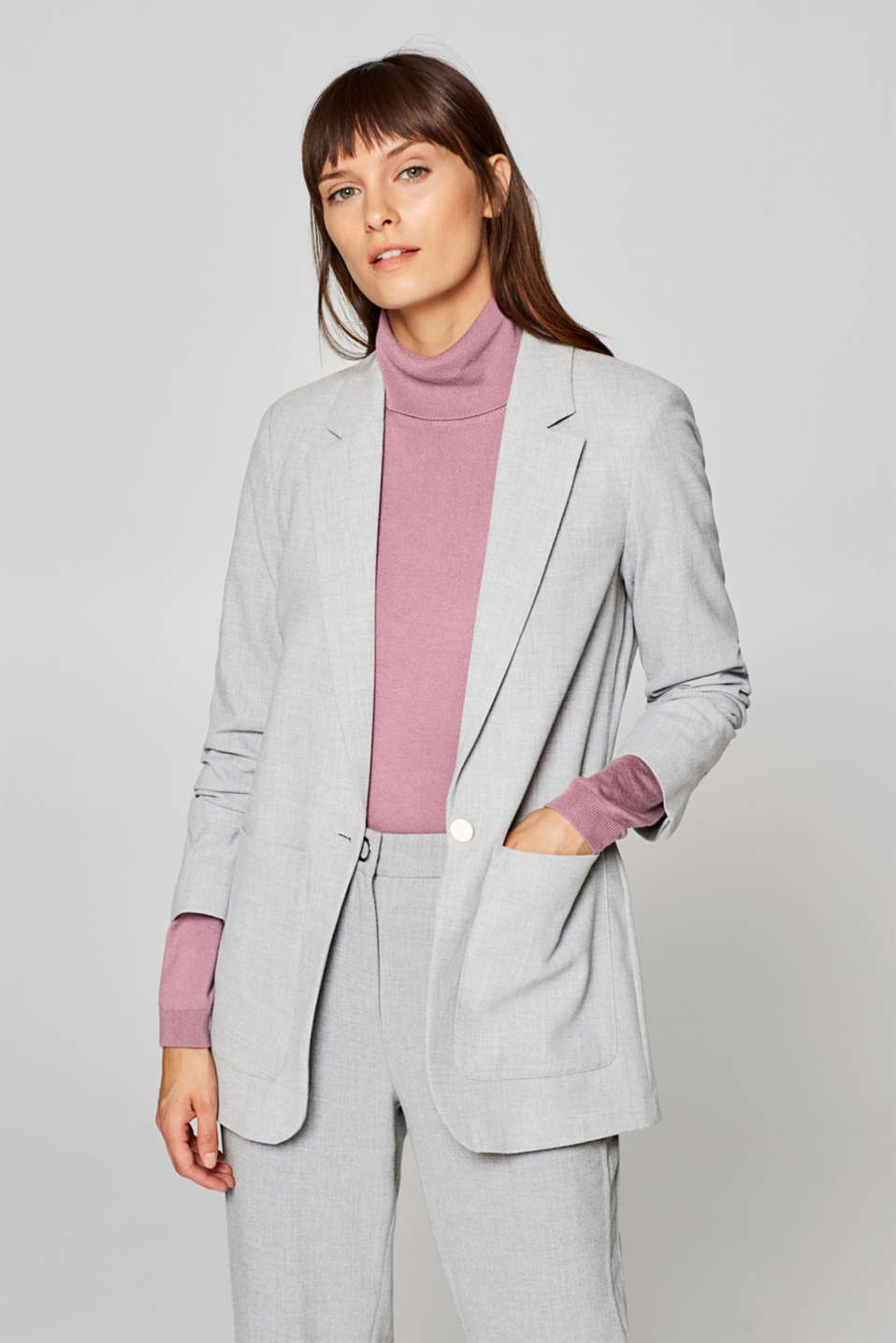 Esprit - Crêpe blazer with gathered sleeves