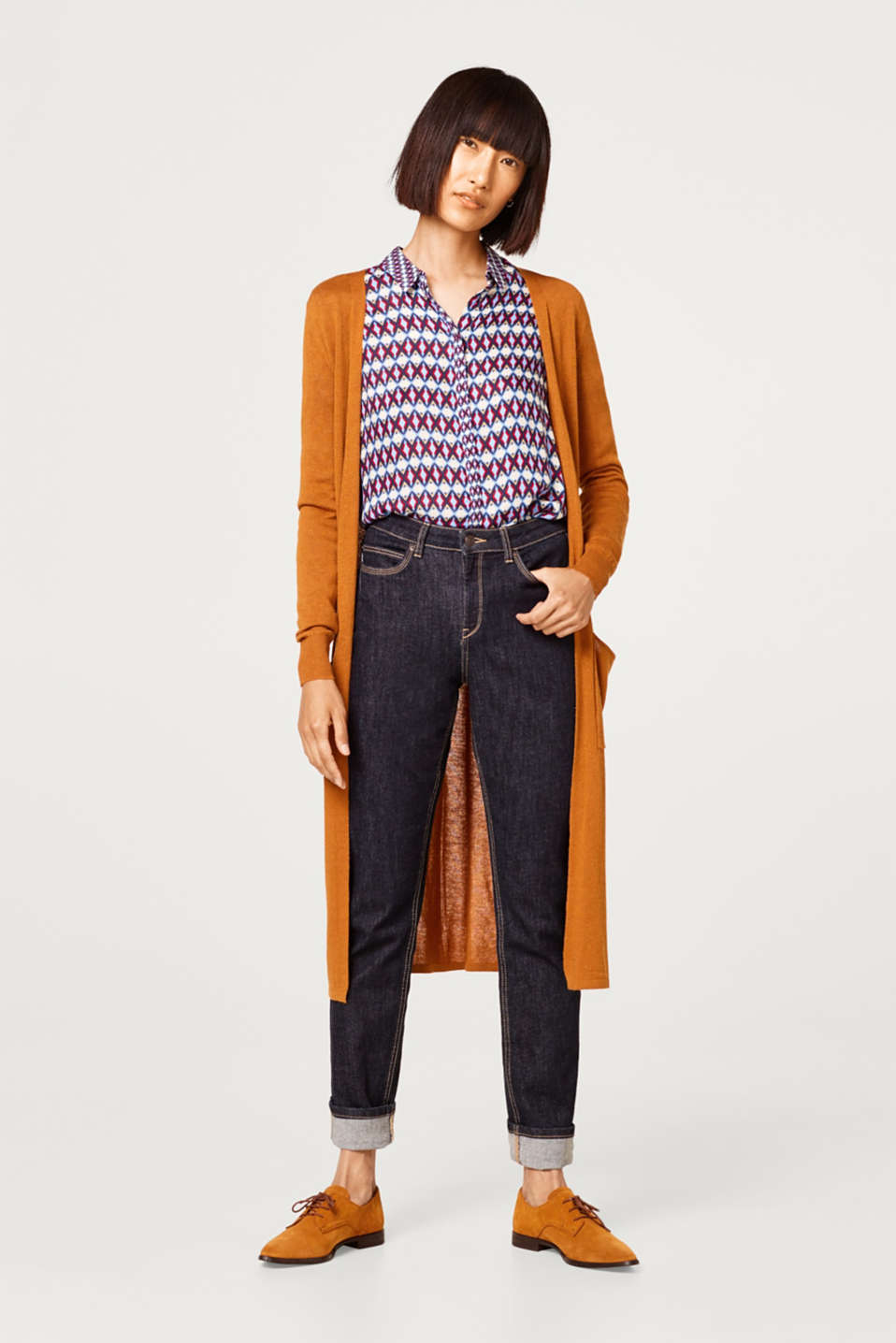 With linen: fine textured long cardigan