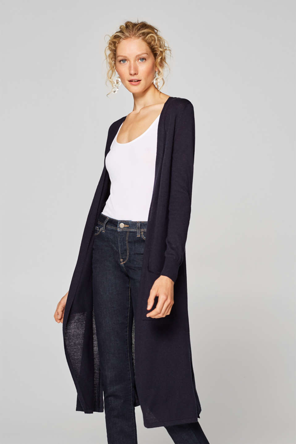 Esprit - With linen: fine textured long cardigan