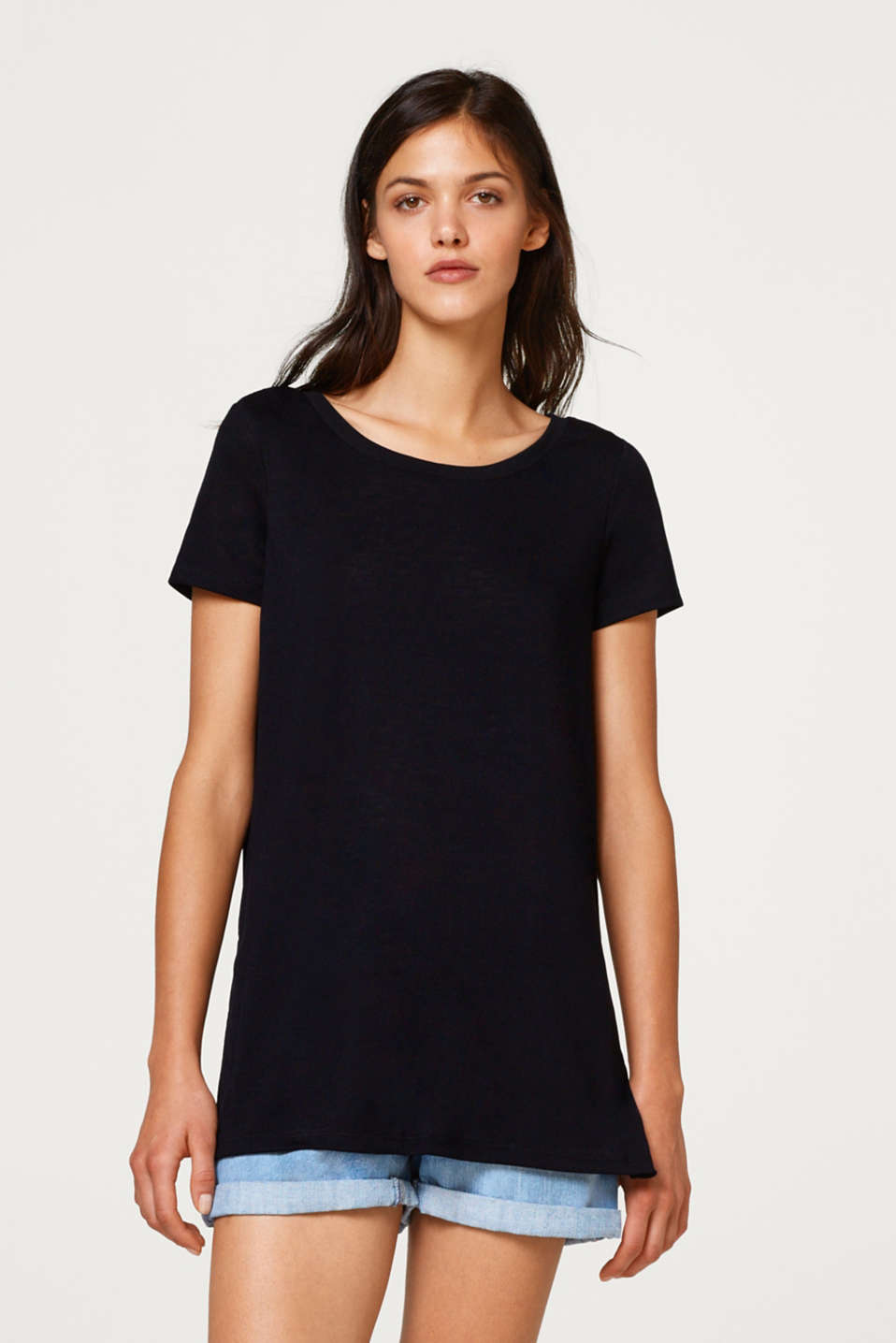 Esprit - Textured top with button placket on the back