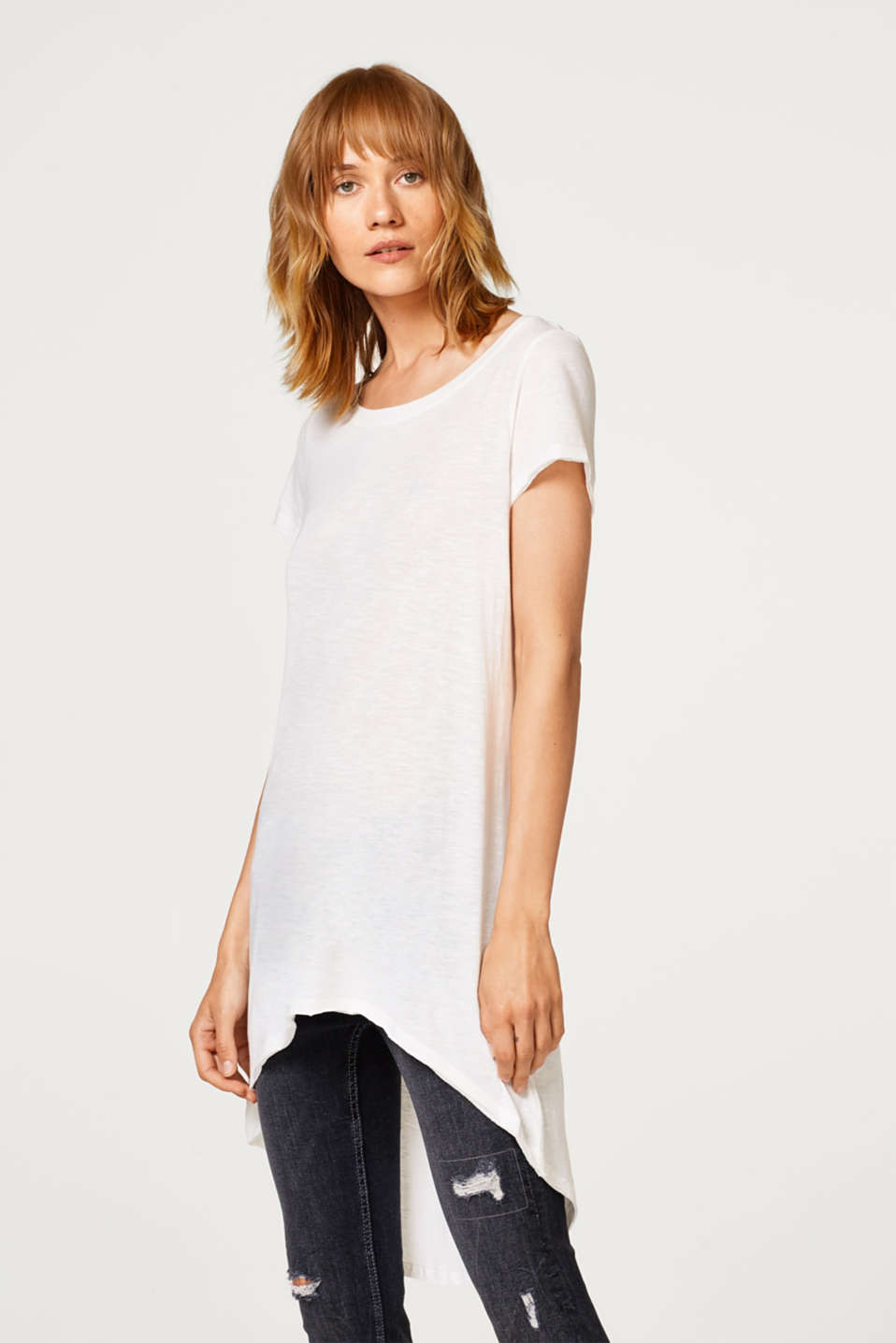 Esprit - Slub jersey top with a high-low hem