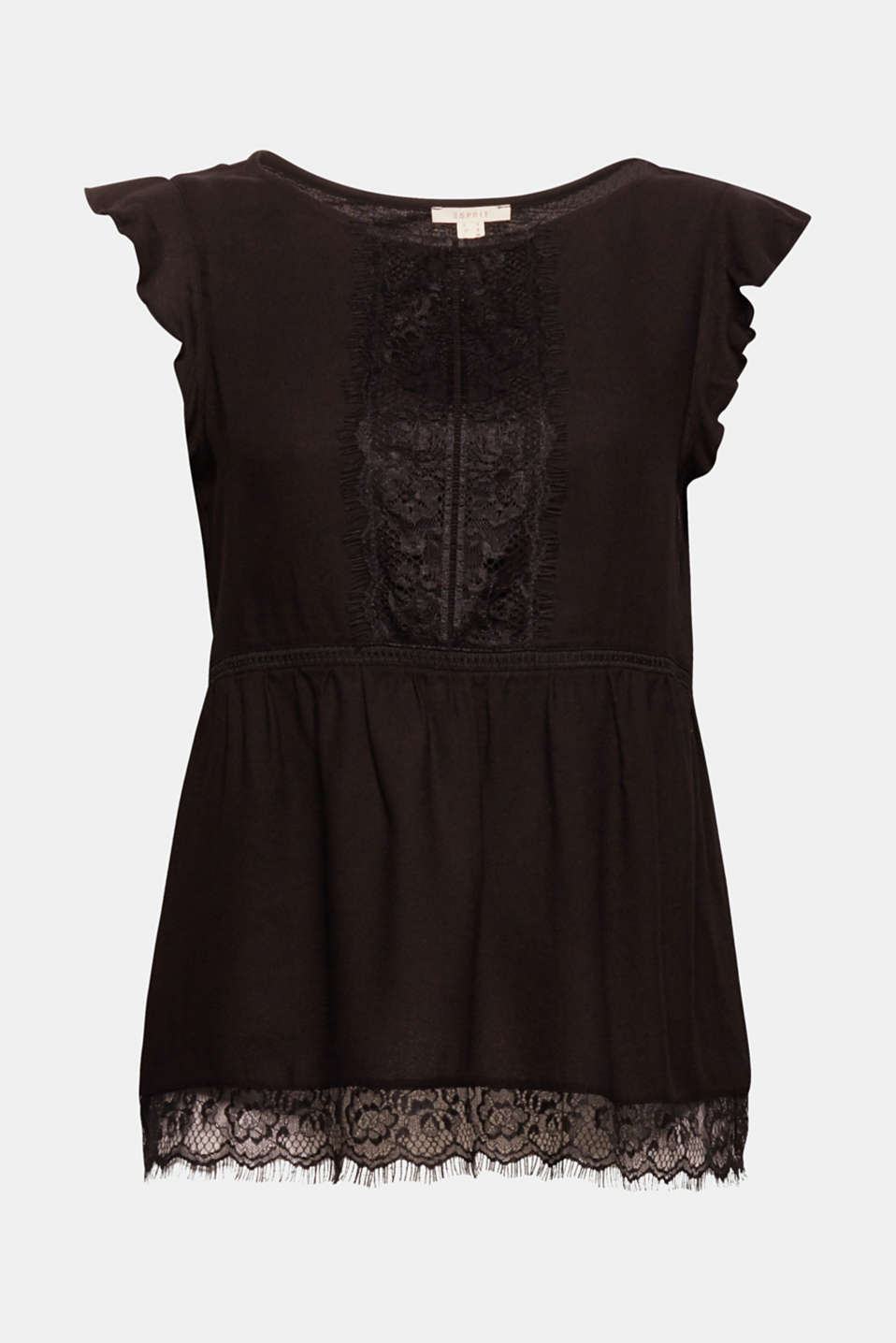 For pretty, fashionable look: Blouse top in a lightweight mix of materials with frills on the sleeves and an elegant lace trim!