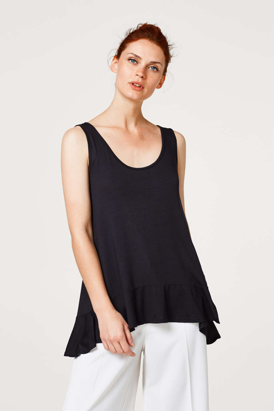 Esprit - Jersey strappy top with a frilled hem