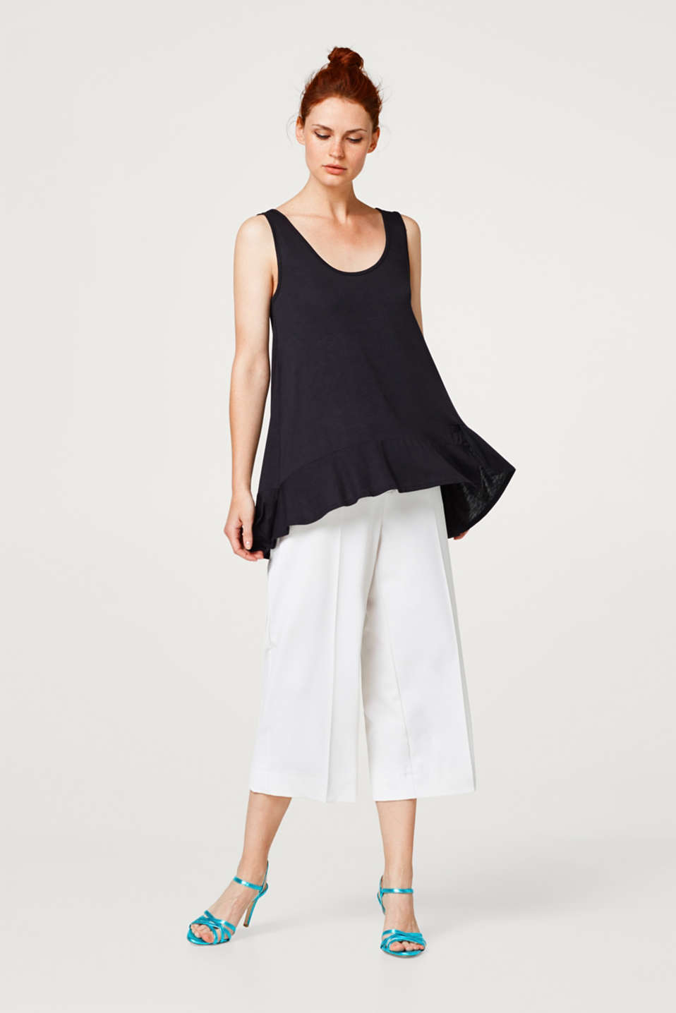 Jersey strappy top with a frilled hem