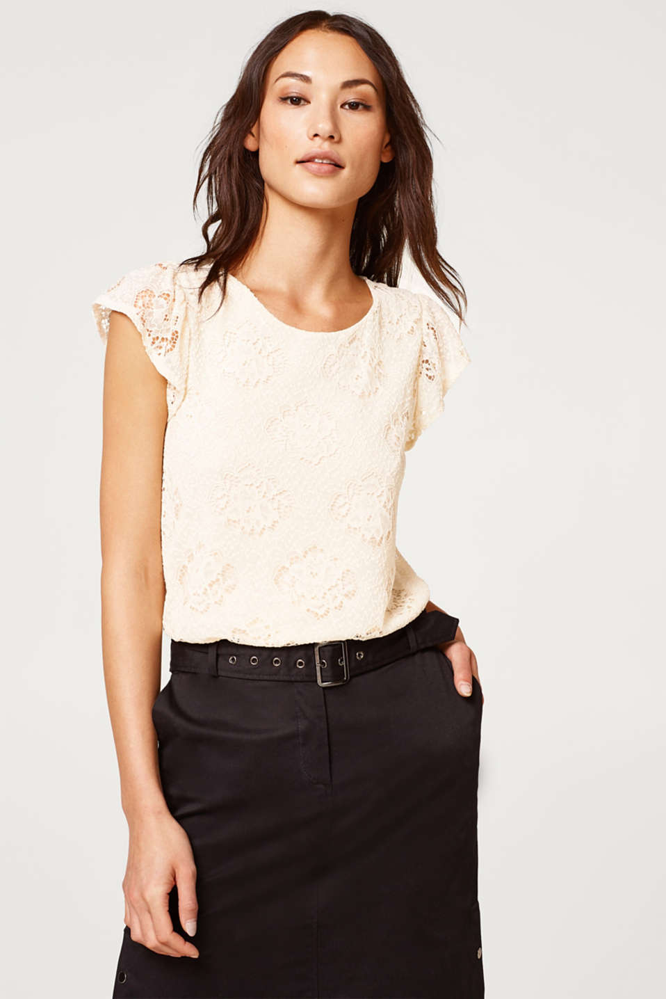 Esprit - Lace top with cap sleeves