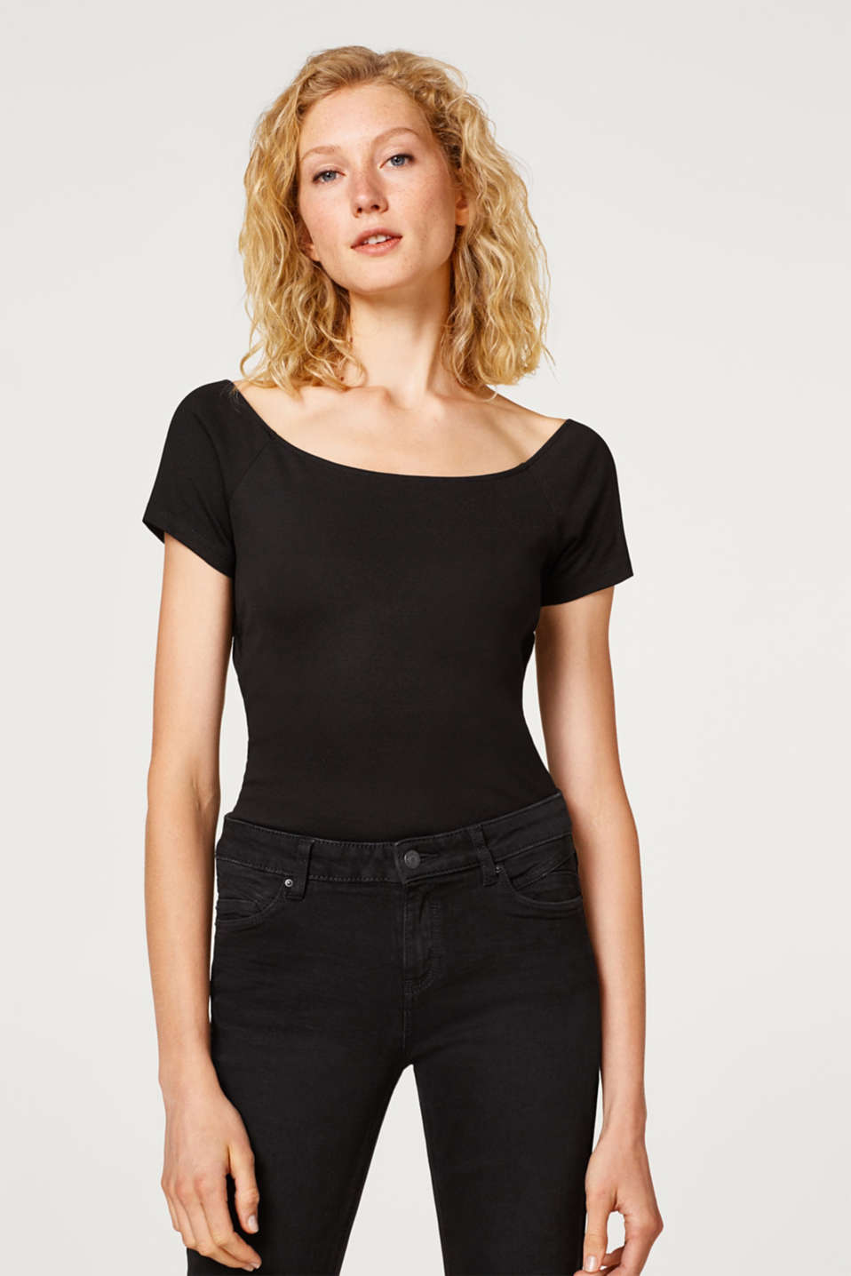 Esprit - Stretch top with a sophisticated back section