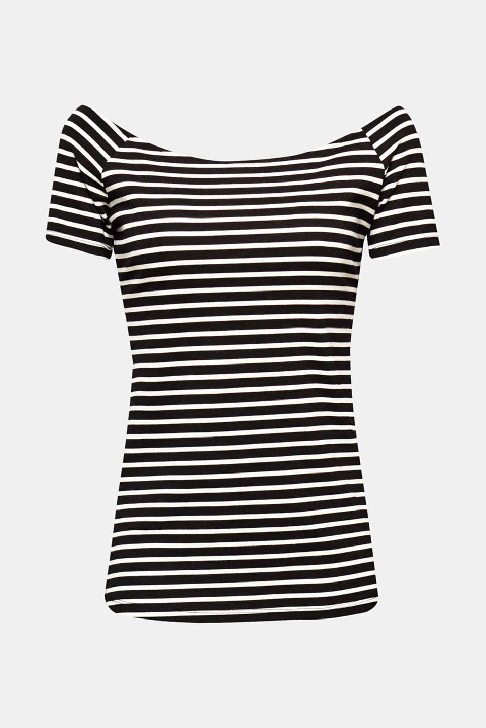 Sophisticated nautical look: The summery off-shoulder design and cut-out at the back give this striped stretch T-shirt a feminine touch!