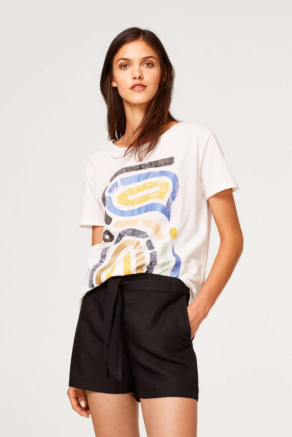 Esprit - T-shirt with a shiny print, 100% cotton