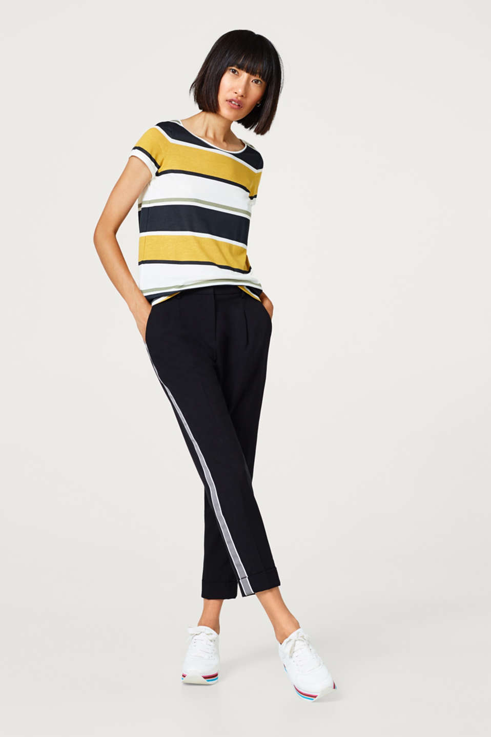 Cotton blend top with block stripes