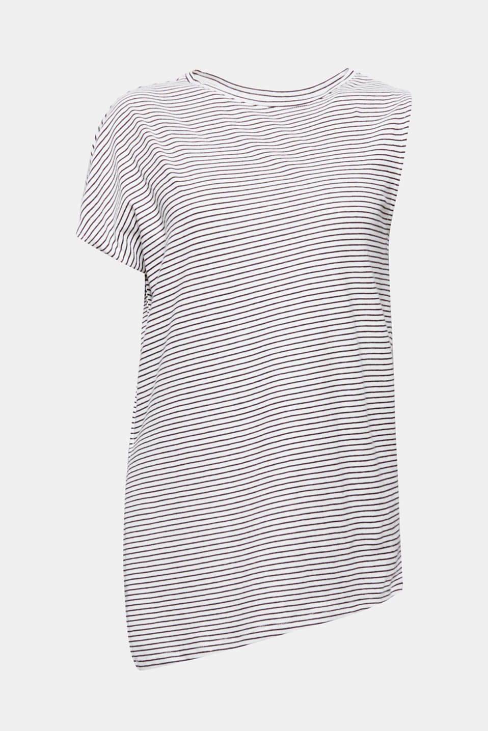 The one-shoulder design, fine all-over stripes and asymmetric hem make this soft cotton top a trend piece!