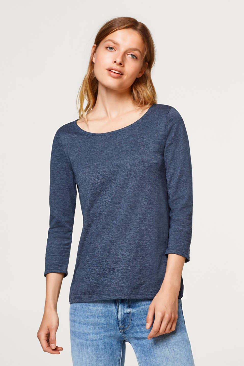 Esprit - Slub jersey long sleeve top with organic cotton