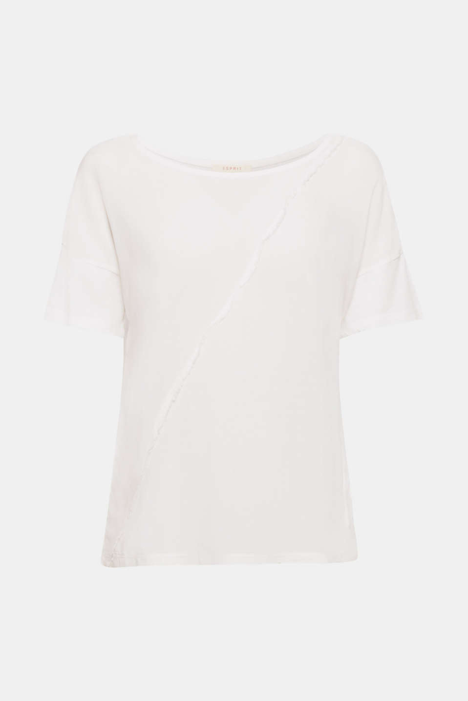 The uneven dye effect and frayed decorative seams give this T-shirt made of a draped material mix a cool, unique look.
