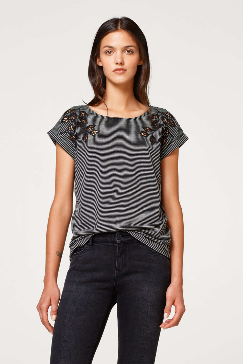 Esprit - Striped T-shirt featuring broderie anglaise