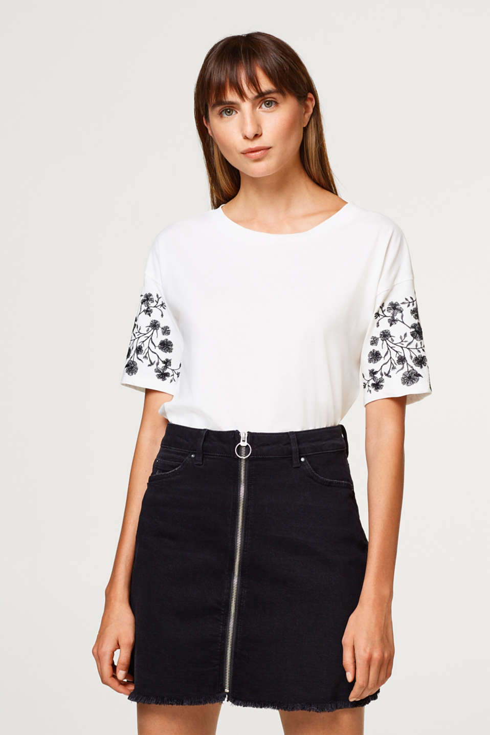 Esprit - Top with embroidery, 100% cotton