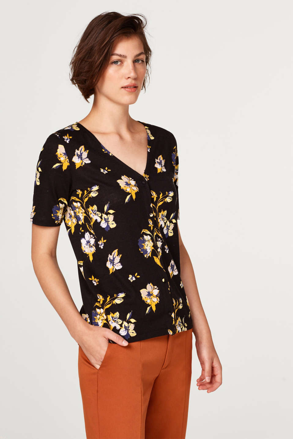 Esprit - Top with a print and button placket