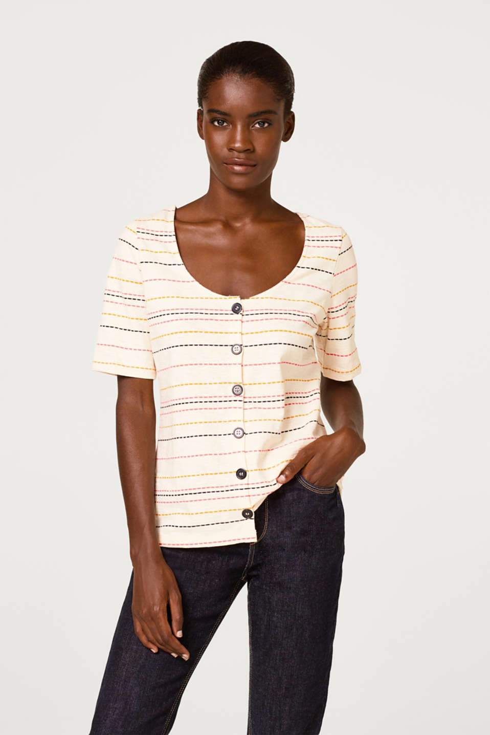 Esprit - Slub top with a button placket