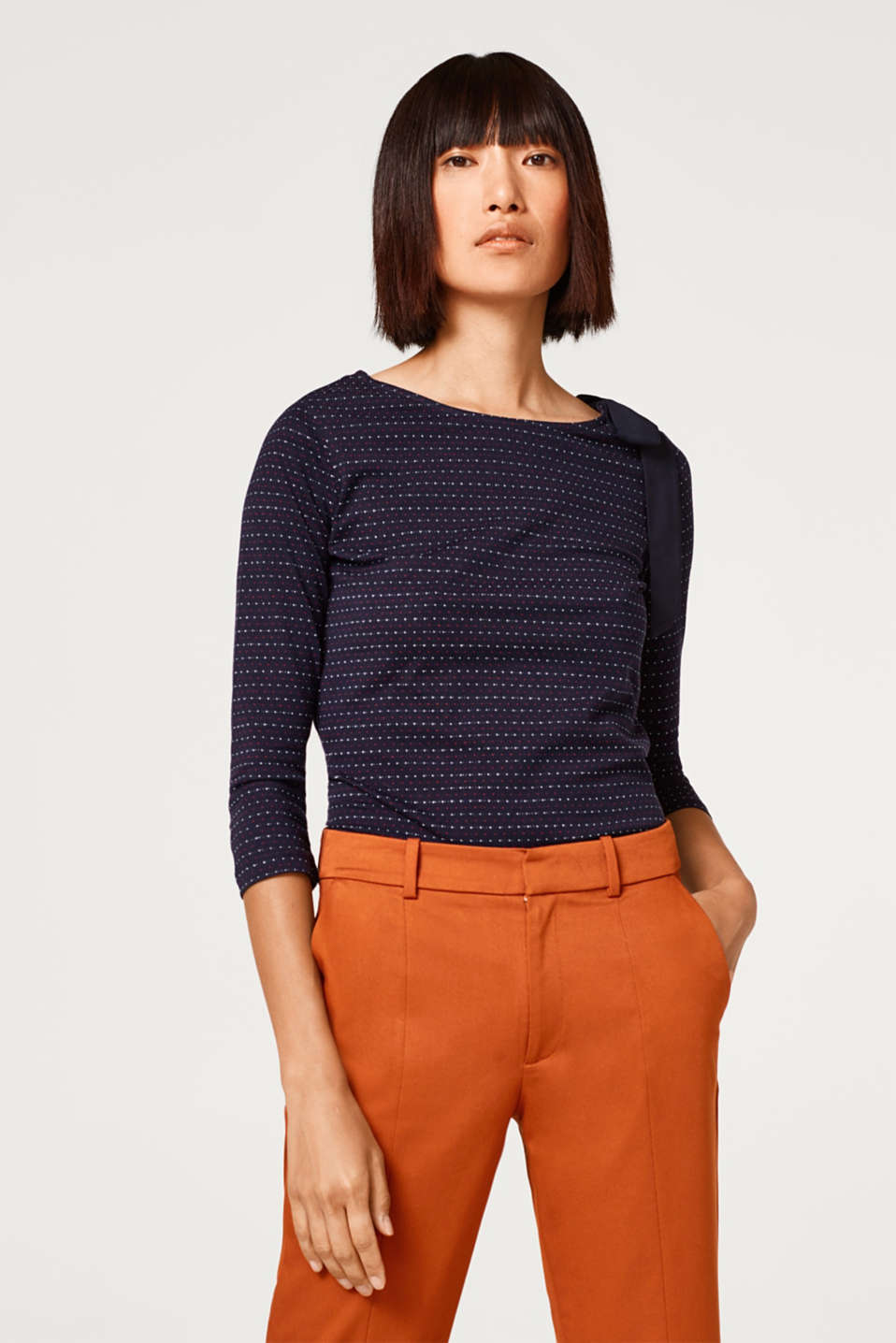Esprit - Textured jersey top with a bow