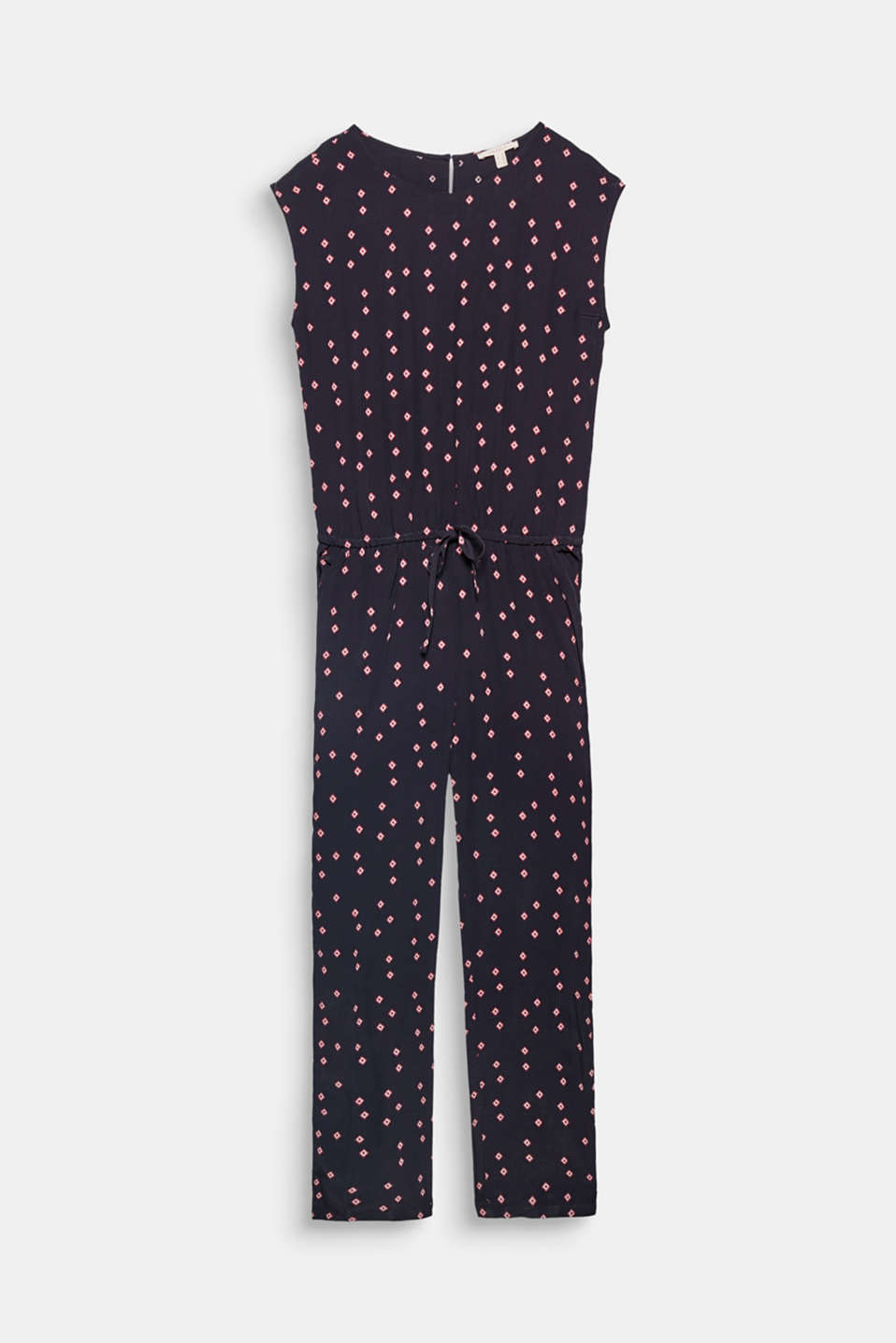 This jumpsuit in flowing fabric with a mini print and drawstring waist is lightweight, casual and comfy!