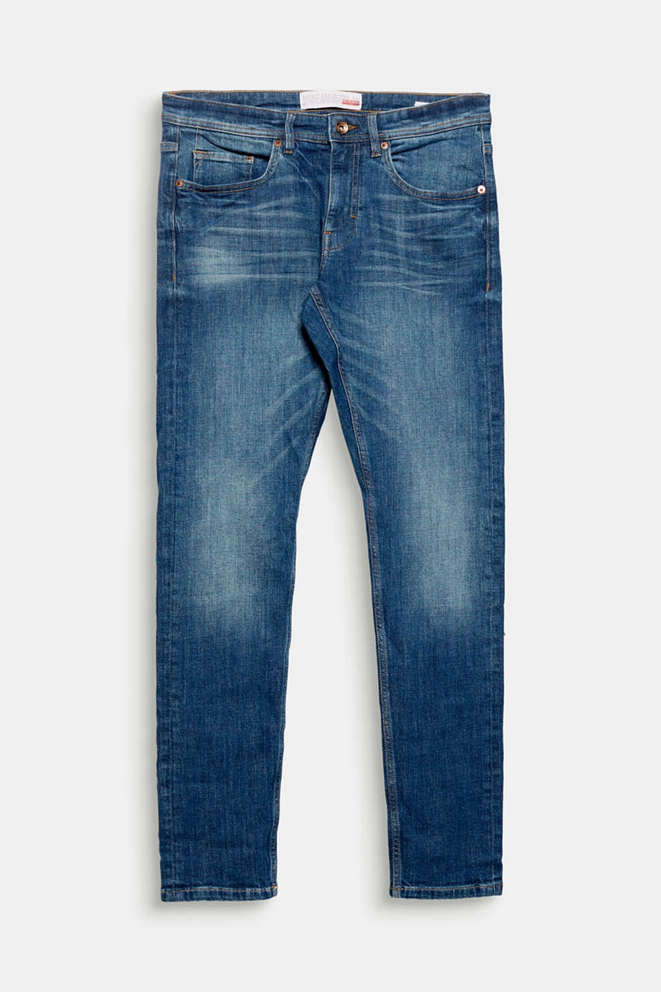 A timeless denim piece: slim-fit five-pocket jeans with subtle washed-out effects