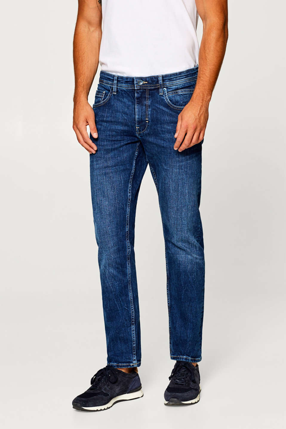 Esprit - Cropped stretch jeans with a garment wash