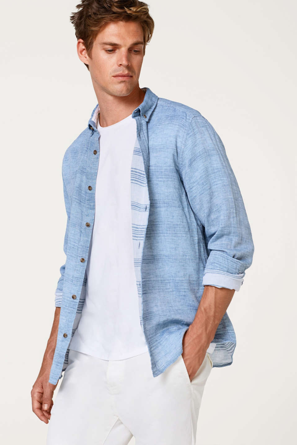 Esprit - Shirt with linen and a button-down collar